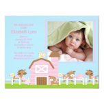 Faire-part de photo de naissance de bébé d'animal carton d'invitation 10,79 cm x 13,97 cm