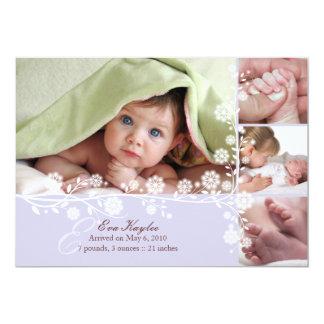 Faire-part floral sensible de bébé de Lavende