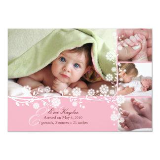 Faire-part floral sensible rose de bébé aussi carton d'invitation  12,7 cm x 17,78 cm