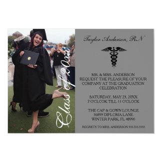 Faire-part médical gris d'obtention du diplôme