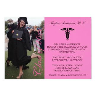 Faire-part médical rose d'obtention du diplôme