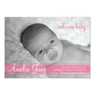 Faire-part moderne rose de bébé carton d'invitation  12,7 cm x 17,78 cm