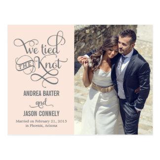 Faire-part précieux de mariage de noeud - pêche lé carte postale