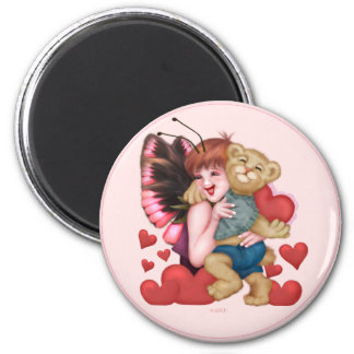 FAIRIE AND BEAR ROUND Magnet  2¼ Inch
