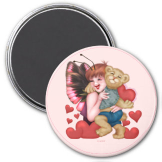 FAIRIE AND BEAR ROUND Magnet  Large, 3 Inch