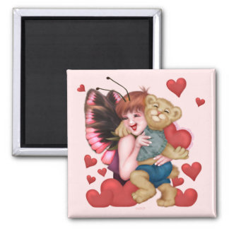 FAIRIE AND BEAR  Square Magnet
