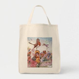 Fairies and Birds in a Garden, Tote Bag
