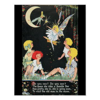 Fairies and Children with Moon Poster
