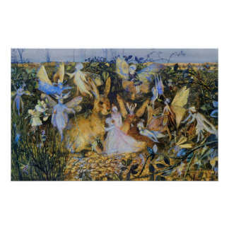 Fairies and Rabbit Poster