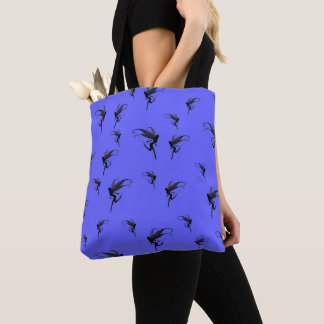 Fairies at pastel purple, magical pattern tote bag