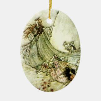 Fairies Away - Arthur Rackham Ceramic Oval Ornament