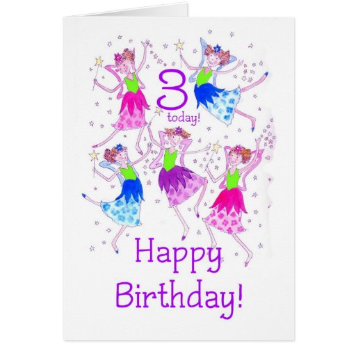 'Fairies' Birthday Card for a 3 year old