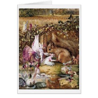 Fairies Feed a Squirrel (Blank Inside) Card