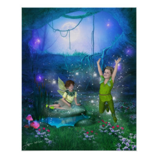 Fairies in the Moonlight Poster