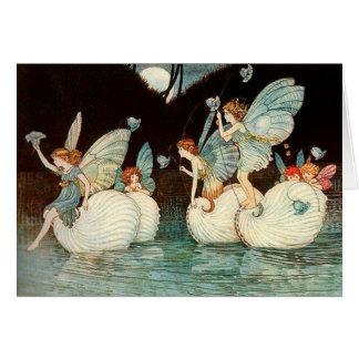 Fairies Looking through a Gothic Arch Card