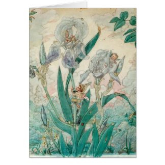 Fairies Playing Among Iris Flowers, Card
