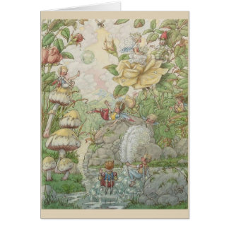 Fairies Playing in a Garden Pond Card