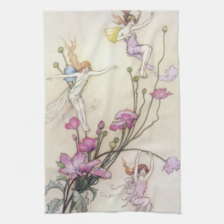 Fairies Playing on Flower Kitchen Towel