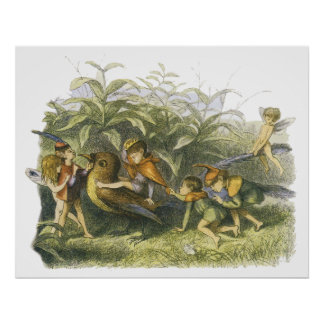 Fairies Playing with Robin Print by Richard Doyle