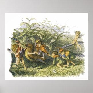 Fairies Playing with Robin Print by Richard Doyle