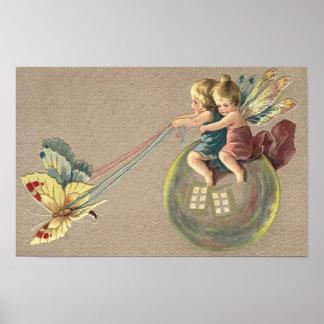 Fairies Riding a Bubble Poster