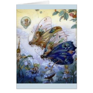 Fairies Riding Butterflies - Card