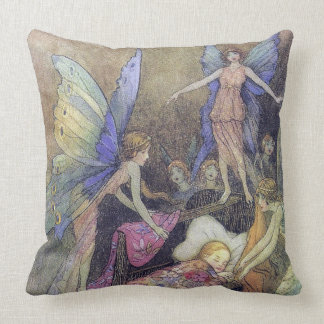 Fairies Singing Baby to Sleep Goble Fine Art Throw Pillow
