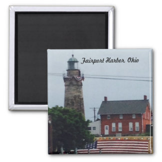 Fairport Harbor Lighthouse with Flag Magnet