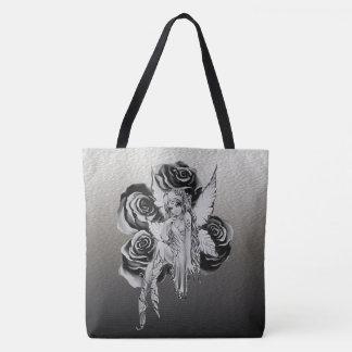 Fairy 3 black and white tote bag