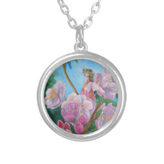 Fairy Amongst the Cherry Blossoms Silver Plated Necklace