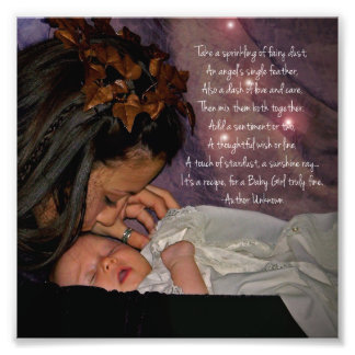 """Fairy and Baby """"Baby Girl"""" Square Photo Print Gift"""