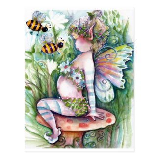 Fairy and Bumble Bees Postcard