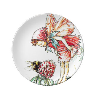 Fairy and Busy Bee Porcelain Plate