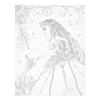 Fairy and butterfly doodle art letterhead
