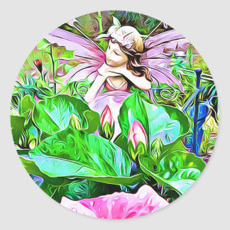 Fairy and Pink Hibiscus flowers stickers