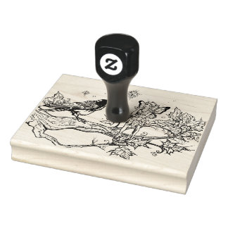 Fairy and Raven conversation Rubber Stamp