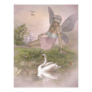 Fairy and Swan Custom Letterhead