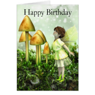 Fairy and Toadstools Birthday Card