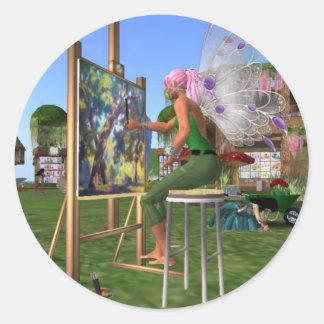 Fairy Artist Classic Round Sticker
