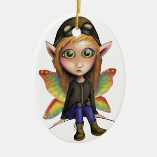 Fairy Aviator Ceramic Oval Ornament