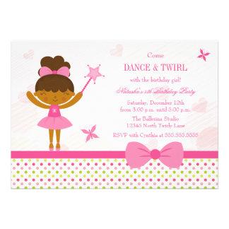 Fairy ballerina girl's birthday party invitation