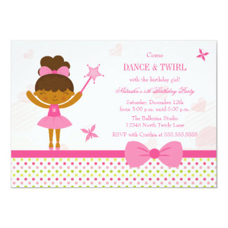 Fairy ballerina girl's birthday party invitation