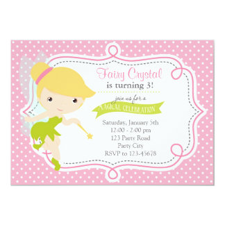 Fairy Birthday Invitation for Girls (Pink Green)