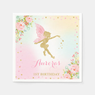 Fairy Birthday Party Napkin Pink And Gold Fairy Paper Napkins
