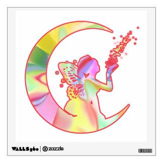 Fairy Blowing Fairy Dust on Moon Wall Sticker