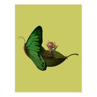 Fairy & Butterfly Boat Postcard