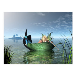 Fairy Butterfly Boat Postcard