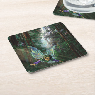 Fairy Castle Forest Square Paper Coaster