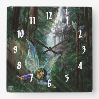 Fairy Castle Forest Square Wall Clock