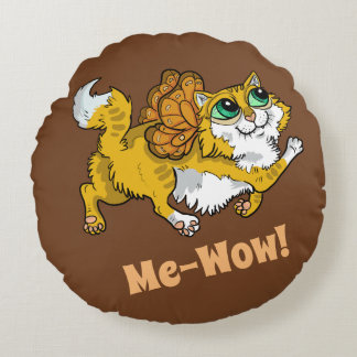 Fairy Cat Me-Wow! Round Pillow